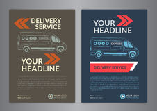 Set A4 Express delivery service brochure flyer design layout template. Delivery van magazine cover, mockup flyer. Vector illustration Stock Photography
