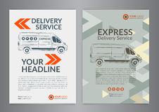 Set A4 Express delivery service brochure flyer design layout template. Royalty Free Stock Images