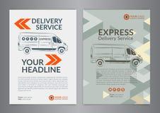 Set A4 Express delivery service brochure flyer design layout template. Delivery van magazine cover, mockup flyer. Vector illustration Vector Illustration