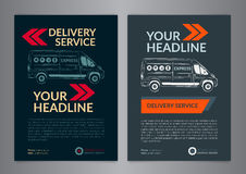 Set A4 Express delivery service brochure flyer design layout template. Stock Photo