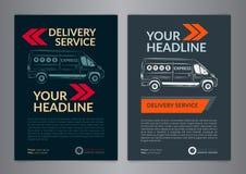 Set A4 Express delivery service brochure flyer design layout template. Delivery van magazine cover, mockup flyer. Vector illustration Stock Photo