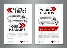 Set A4 Express delivery service brochure flyer design layout template. Delivery van magazine cover, mockup flyer. Vector illustration Stock Images