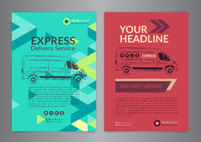 Set A4 Express delivery service brochure flyer design layout template. Delivery van magazine cover, mockup flyer. Vector illustration Royalty Free Stock Image
