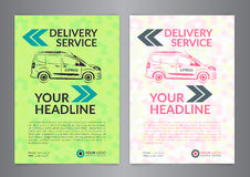 Set A4 Express delivery service brochure flyer design layout template. Delivery van magazine cover, mockup flyer. Vector illustration Stock Illustration