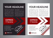 Set A4 Express delivery service brochure flyer design layout template. Delivery van magazine cover, mockup flyer. Vector illustration Royalty Free Stock Photography