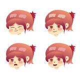 Set expression of young girl love her self. Character cartoon art style vector illustration