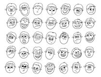 Set of expressive male faces doodles. Illustration of cute boy male faces Royalty Free Stock Photos