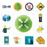 Set of extend, tiger, upgrade, hoopoe, notification, starburst, tour guide, lithium battery, free brain icons. Set Of 13 simple  icons such as extend, tiger Stock Photography