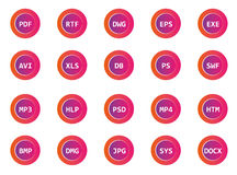 Set of extensions files icons 1. Set of extensions files icons for business projects Stock Photography