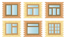 Set Exterior Wooden Windows Royalty Free Stock Photo
