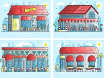 Set of exteriors of little cute cafe buildings on the street. Layout modern vector background illustration design. Concept Royalty Free Stock Images