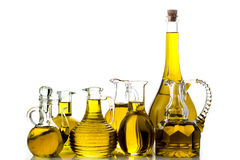 Set of extra virgin olive oil jars Stock Photo
