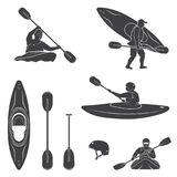 Set of extrema water sports equipment, kayaker and canoe silhouettes vector illustration