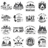 Set of extreme adventure badges. Concept for shirt or logo, print, stamp or tee. Summer camp with design elements. Vector illustration. Set of extreme adventure Stock Images