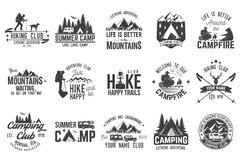 Set of extreme adventure badges. Concept for shirt or logo, print, stamp or tee. Summer camp and hiking club with design elements. Vector illustration. Set of royalty free illustration