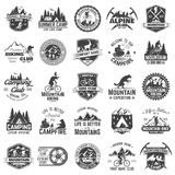 Set of extreme adventure badges. Concept for shirt or logo, print, stamp or tee. Summer camp,mountain biking, alpine club. Vector illustration. Set of vintage Royalty Free Stock Photo