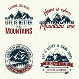 Set of extreme adventure badges. Mountains related typographic quote. Vector illustration. Concept for shirt or logo, print, stamp Stock Images