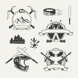 Set of extreme sports emblems, badges, labels. And designed elements Royalty Free Stock Photography