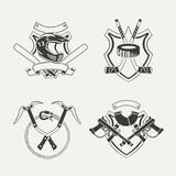 Set of extreme sports emblems, badges, labels. And designed elements Royalty Free Stock Images