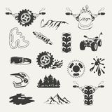 Set of extreme sports emblems, badges, labels. And designed elements Royalty Free Stock Image
