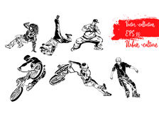 Set of extreme sportsmen. Rollers, bicyclists and breakdancers . Extreme theme modern print. Vector design elements. Isolated on w Royalty Free Stock Photos