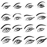Set of 16 eye designs. Set of 16 different eye designs vector illustration