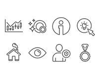 Eye, Financial diagram and Energy icons. Security, Clean dishes and Medal signs. Set of Eye, Financial diagram and Energy icons. Security, Clean dishes and Stock Images