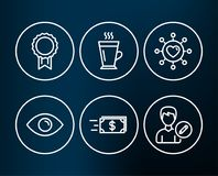 Eye, Reward and Money transfer icons. Dating network, Latte and Edit person signs. Set of Eye, Reward and Money transfer icons. Dating network, Latte and Edit Royalty Free Stock Photography