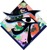 Set of Eye of Rha on colorful background isolated. Image representing eye of rha on an abstract background Stock Images