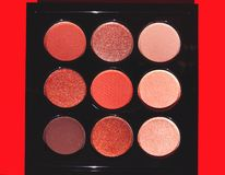 A set of 9 colors eye shadow plates royalty free stock photos