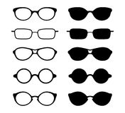 Set of eye and sun glasses icons. Vector illustration. Stock Photos