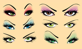 Set of eyes. Set of different eyes, vector illustration Royalty Free Stock Photography