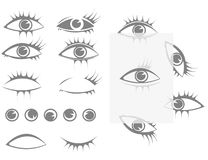 Set eyes and eyelashes Stock Images