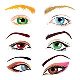 Set of eyes illustration Stock Photography