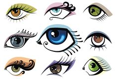 Set of  eyes with makeup Royalty Free Stock Photo