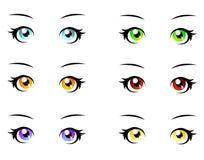 A set of anime eyes. A set of eyes in manga style, isolated on white Royalty Free Stock Image