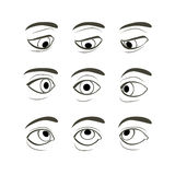 Set of Eyes Positions Stock Images