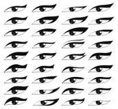Set eyes in sketch style. Painted eyes. Black eye makeup Stock Image