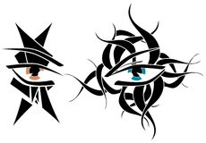 Set of Eyes tattoo in black  Stock Photos