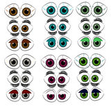 Set of eyes on white background. Royalty Free Stock Photos