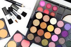 Set of eyeshadow and blush isolated on white background. Set of eyeshadow and blush isolated on white background Stock Image