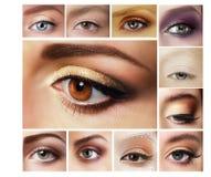 Set of Eyeshadow. Mascara. Mix of Women's Eyes Royalty Free Stock Photo