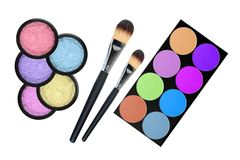 Set of 5 eyeshadows and brushes isolated Royalty Free Stock Photo