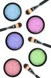 Set of 5 eyeshadows and brushes isolated on white Royalty Free Stock Image