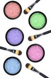 Set of 5 eyeshadows and brushes isolated on white Stock Photos