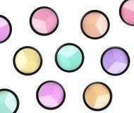 Set of 5 eyeshadows and brushes isolated on white background Royalty Free Stock Images