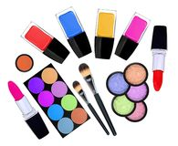 Set of 5 eyeshadows, brushes, lipsticks and nailpolishes Stock Photos
