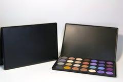 Set of eyeshadows isolated on white background. Box of eyeshadows isolated on white background stock photos