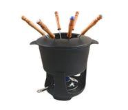 set för 3 fondue Arkivfoto
