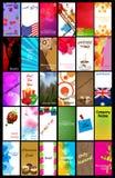 set för 30 affärskort Arkivbild